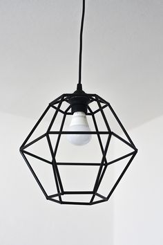 diy-geometric-pendant-light-fixture-of-straws cocktail straws, crafting wire, a wire cutter, scissors, thick felt and glue. Geometric Pendant Light, Geometric Lamp, Diy Pendant Light, Pendant Lamp, Bedroom Light Fixtures, Pendant Light Fixtures, Pendant Lighting, Bedroom Lighting, Bedroom Decor