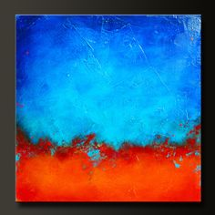 'Eruption' - 24 x 24 - Abstract Acrylic Painting on Canvas - Contemporary Wall Art.. BLUE AND GREY