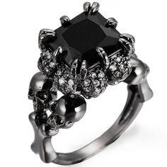 Black Rhodium Plated Demon Princess Wedding Ring