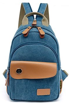 TUODAWEN Casual Multilayer Canvas ChestBag Mini Backpack Rucksack Blue -- This is an Amazon Affiliate link. Visit the image link more details.