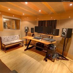 A small control room with controlled liveliness. Loudspeakers are temporarily placed, also, we do not recommend more than one pair of monitors, nor the desk with large reflection surface in the sweet spot line. Loudspeaker positioning is done later.                                #masteringstudio #musicstudio #recordingstudio #acousticdesign #studiobuild