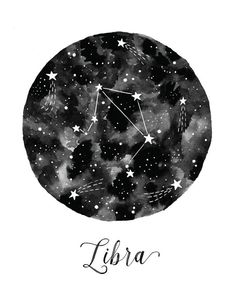 Libra Constellation Illustration Vertical by fercute on Etsy