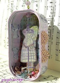 Sardine Tin Altered Art - Dress Form