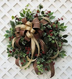 Christmas Wreath, Holiday Wreath, Pine Wreath, Traditional Christmas Wreath by HeatherKnollDesigns on Etsy