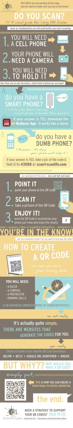 QR Codes: Do you scan? A visual guide for using QC codes. Includes tips for creating codes & how to use without a smartphone #infographic #QR Codes