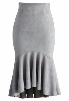 Sassy Suede Frill Hem Skirt in Grey - New Arrivals - Retro, Indie and Unique Fashion midi Led Dress, Dress Skirt, Peplum Skirts, Unique Fashion, Jw Mode, Fashion Brand, Womens Fashion, Fashion Fashion, Suede Skirt