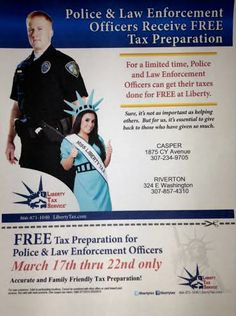 #LibertyTax of Casper and Riverton, WY are offering FREE Tax Preparation for Police and Law Enforcement Officers during the week of March 17th-22nd.  Call (307)234-9705