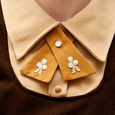 Womens Neck Tie - Mustard - Lace Flower Adornments. $20.00, via Etsy.