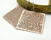 Etched Copper  - rustic earrings