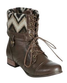 Foldover Combat Boot | Shop Shoes at Wet Seal  From wetseal.com