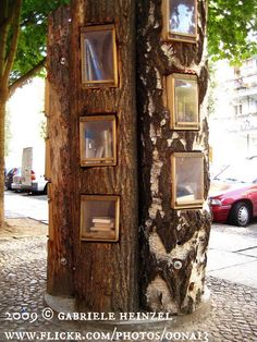 BOOK TREE © Gabriele Heinzel (Photographer. Berlin, GERMANY) aka oona13  via flickr. Book Shelves. Public Library. Book Exchange. Outdoors. Installation Art. [Do not remove this caption. The LAW requires the copyright holder be credited.] COPYRIGHT LAW REQUIREMENTS: http://pinterest.com/pin/86975836525792650/  HOW TO FIND the ORIGINAL WEB SITE of an image: http://pinterest.com/pin/86975836525507659/  COPYRIGHT INFRINGEMENT:  http://pinterest.com/pin/86975836525987875/