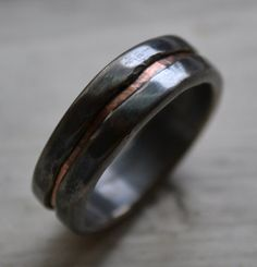mens wedding band - rustic fine silver and copper ring - handmade oxidized artisan designed wedding or engagement band - customized on Etsy, $235.00