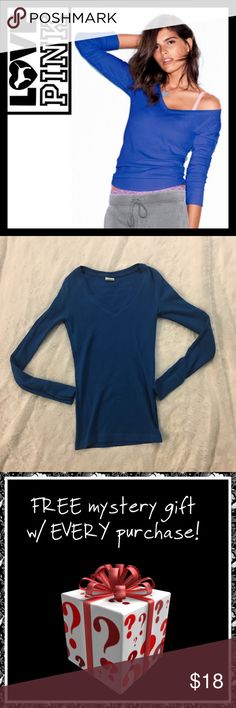 Victoria's Secret PINK thermal raglan tee in blue EUC, no flaws - worn like twice, size XS PINK Victoria's Secret Tops Tees - Long Sleeve