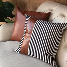 Rustic home decor Handwoven decorative grey striped wool pillow for sofa 12 x 12 inch Housewarming Gift Accent cushion for living room