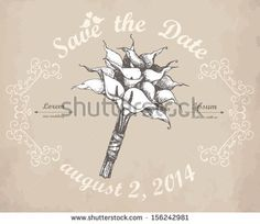 Vector card design with hand drawn wedding calla  flowers on aged background. - stock vector