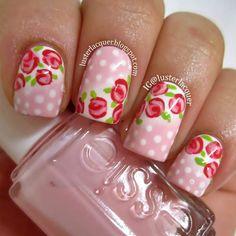 Floral nail arts with polka dots