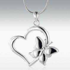 Butterfly Heart Sterling Silver Cremation Jewelry - Engravable