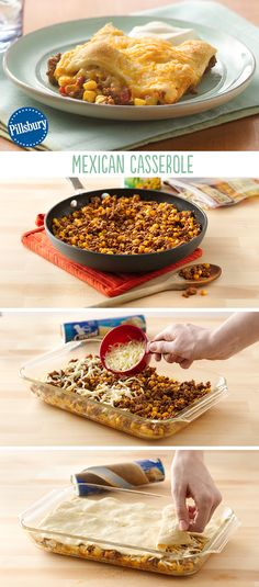 Yummy, cheesy, spicy goodness in one comforting casserole. Flexible enough to add your favorite ingredients and it's ready in only 30 minutes! This Mexican Casserole recipe is so easy and topped with flaky crescent rolls.
