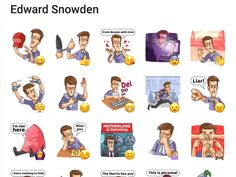 Edward Snowden is known for his multiple leaks of secret american informations. Edward Snowden, Telegram Stickers, Packing, Ads, Smile, Comics, American, Bag Packaging, Cartoons