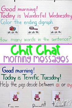 Morning meeting messages for kindergarten and 1st grade that reinforce literacy and math skills. Your students will love Chit Chats! Let me show you how!