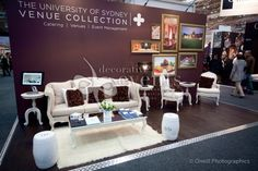 Deep purple and white make a nice contrast in this University of Sydney booth.