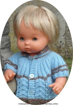 """The jacket """"Lavender"""" Fabrice (TUTO with lace pattern) – creasdemyjanie. Tricot Baby, Cardigan Bebe, Christmas Gifts For Boys, Bitty Baby, Baby Born, Boy Doll, Knitted Dolls, Boy Art, Baby Knitting"""