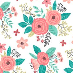 Vintage Antique Floral Flowers on White fabric by caja_design on Spoonflower - custom fabric