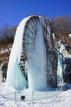 Frozen waterwheel in South Korea.