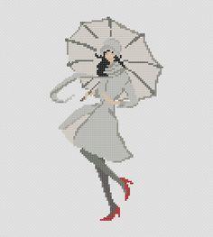 Girl with Umbrella II. PDF Cross Stitch Pattern. $4.00, via Etsy.