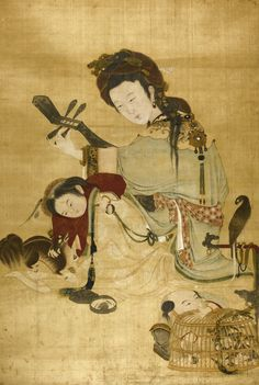 PAINTING OF LADY AND CHILDREN - QING DYNASTY, FIRST HALF OF 18TH CENTURY