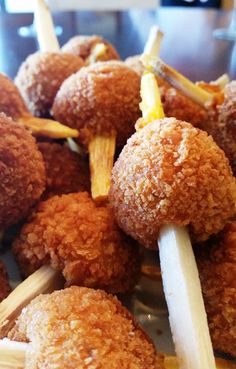 Sweet potato balls with fresh sugar cane. Another creation of Kittitian Chef Keethon