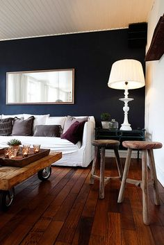 Chocolate wood flooring with dark blue walls and white accents!!