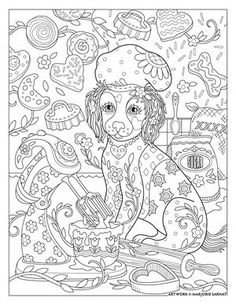 chef-doggie ~ Pampered Pets Adult Coloring Book by Marjorie Sarnat Davlin Publishing Dog Coloring Page, Free Adult Coloring Pages, Cute Coloring Pages, Colouring Pics, Animal Coloring Pages, Printable Coloring Pages, Coloring Books, Colorful Drawings, Colorful Pictures