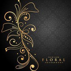 Floral dourado elegante no fundo preto