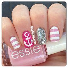 Anchor and stripes  #mani #nails #manicure #Essie #OPI #ChinaGlaze -short nails -real nails - nail polish - sexy nails - pretty nails - painted nails - nail ideas - mani pedi - French manicure - sparkle nails -diy nails