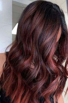 Bold Hair Color, Bright Hair Colors, Hair Color Auburn, Hair Color And Cut, Hair Color Highlights, Hair Color Balayage, Red Balayage Hair Burgundy, Red Balayage Highlights, Copper Balayage Brunette