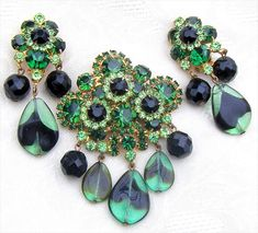 D&E Juliana Glass Drop Dangles Black Green Rhinestones Brooch Pin Earrings Book! #Juliana