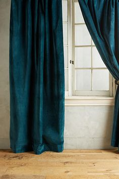 Anthropologie Matte Velvet Curtain in Dragonfly, Dark Teal