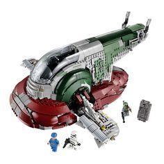 Poursuis les fugitifs avec le légendaire chasseur de primes, Boba Fett, à bord du puissant Slave I ! Ce modèle LEGO® Star Wars exclusif comprend une cabine rotative et des ailes pour les modes de vol et d'atterrissage, des doubles fusils et des canons cachés pour repousser les attaquants. Reproduis la capture de Yan Solo dans Star Wars : Episode V L'Empire contre-attaque et décolle de Bespin avec le héros rebelle emprisonné dans la carbonite dans le compartiment cargo. Fixe le support...