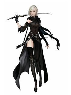 Anime picture with original pixiv fantasia pixiv fantasia t sakusaku (artist) single tall image short hair blue eyes simple background white grey hair pointy ears girl thighhighs gloves weapon black thighhighs sword detached sleeves black gloves 3d Fantasy, Fantasy Warrior, Anime Fantasy, Fantasy Girl, Warrior Outfit, Elf Warrior, Warrior Costume, Female Character Concept, Character Art
