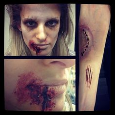 Halloween makeup; good idea to add bite marks/scratches as well!!! No zombie has clean arms! Lol