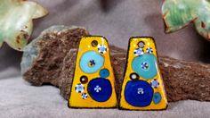 Cobalt and Marigold Fiesta Enamel Earring by BlueHareartwear