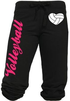 $24.99 cool Volleyball Capri with Heart Shaped Volleyball Juniors Sizing S-L