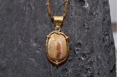 Gold Pendant with Genuine Egyptian Scarab