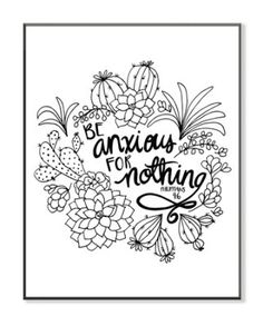 Be Anxious For Nothing Coloring Wall Art Small