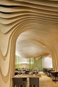 BanQ Restaurant in Boston designed by Office dA; SnoWave comment: A ceiling done like this in a home might be interesting.