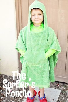 A hooded poncho towel made from a beach towel & hand towel. Perfect for swimming lessons!
