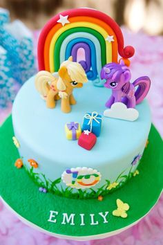 My Little Pony Cake Ideas – Apple Jack & Twilight Sparkle Cake (By Karas Party Ideas) Twilight Sparkle, Pinkie Pie, Rainbow Dash, Rarity, Fluttershy, Applejack, Unicorn, Spike, Equestria, Ponyville, Princess Celestia, Nightmare Moon