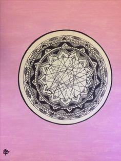 mandala art #mandala #art #paint #pink #blackandwhite