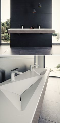 Le Projet have designed a modern bathroom sink that has contemporary crisp lines. Le Projet have d Bathroom Sink Design, Kitchen Sink Design, Modern Bathroom Sink, Modern Laundry Rooms, Modern Sink, Modern Bathroom Design, Bathroom Interior, Small Bathroom, Bathroom Mirrors